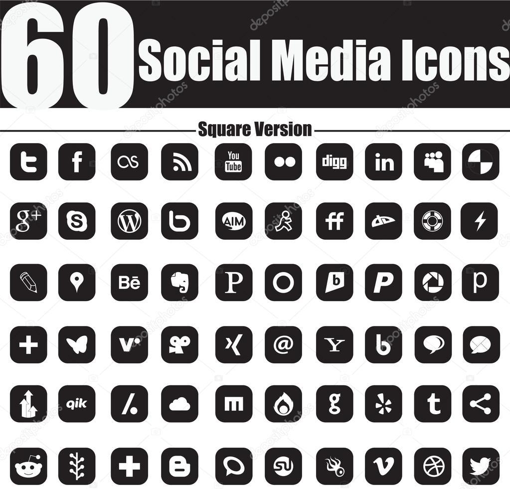 60 Social Media Icons Square Version