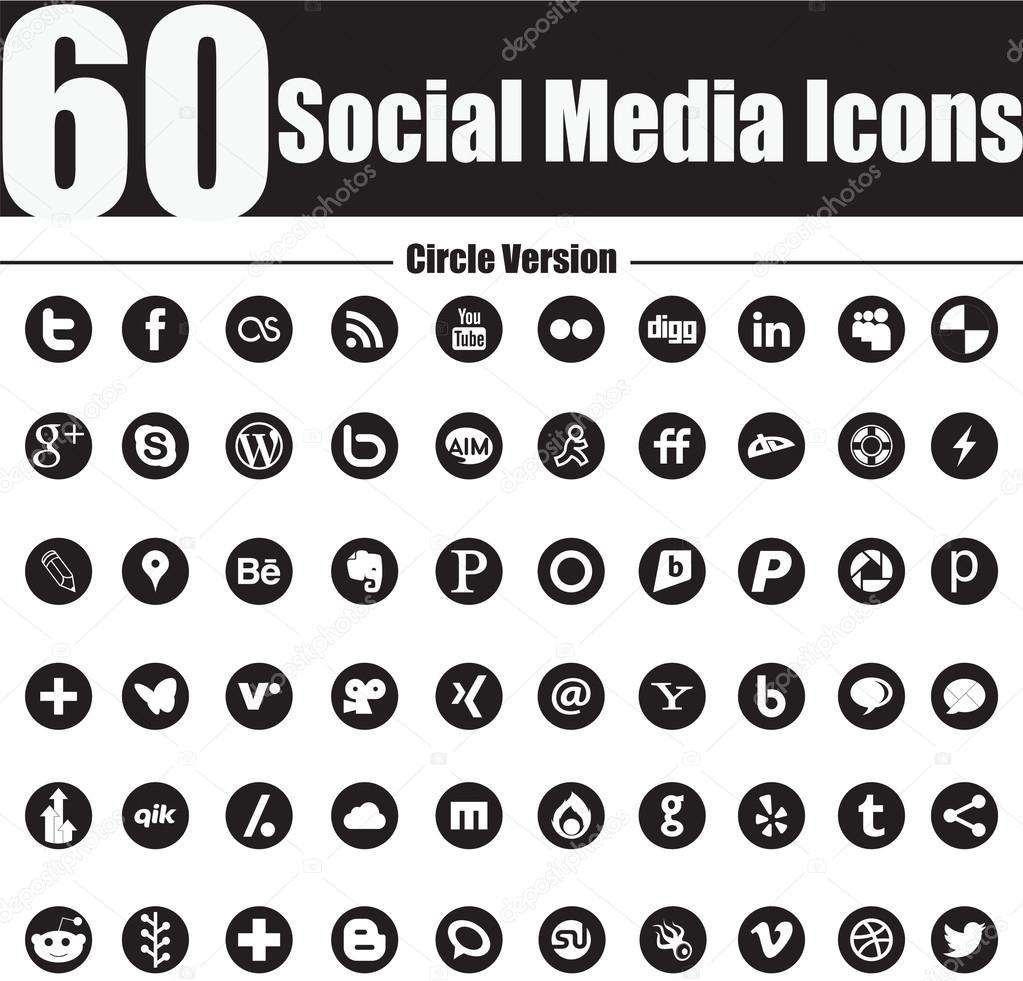 60 Social Media Icons Circle Version