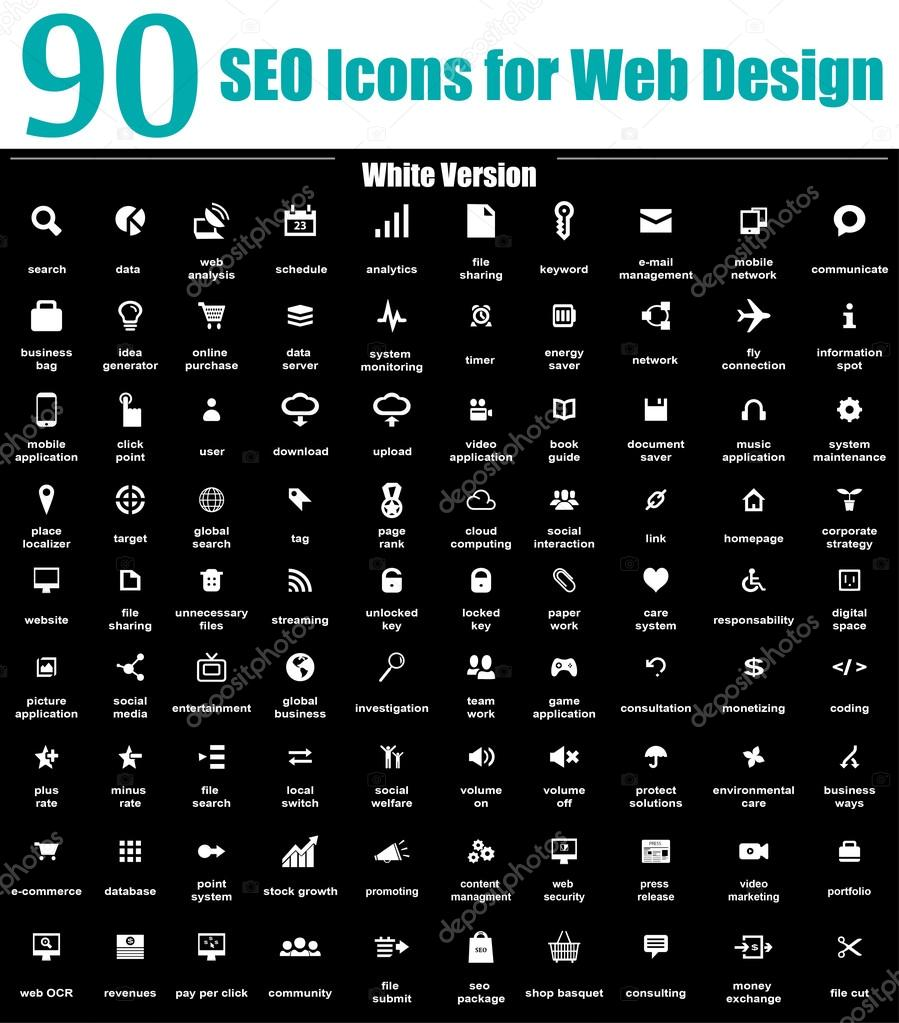 90 SEO Icons for Web Design - White Version