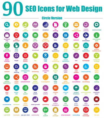 This is a cool, creative and very high quality pack of 90 SEO icons suitable for web and mobile design projects. Main features: 90 vector SEO Icons, vector file, full editable, easy to change color and resize. stock vector