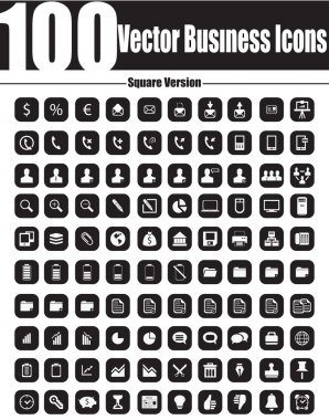 100 Vector Business Icons - Square Version