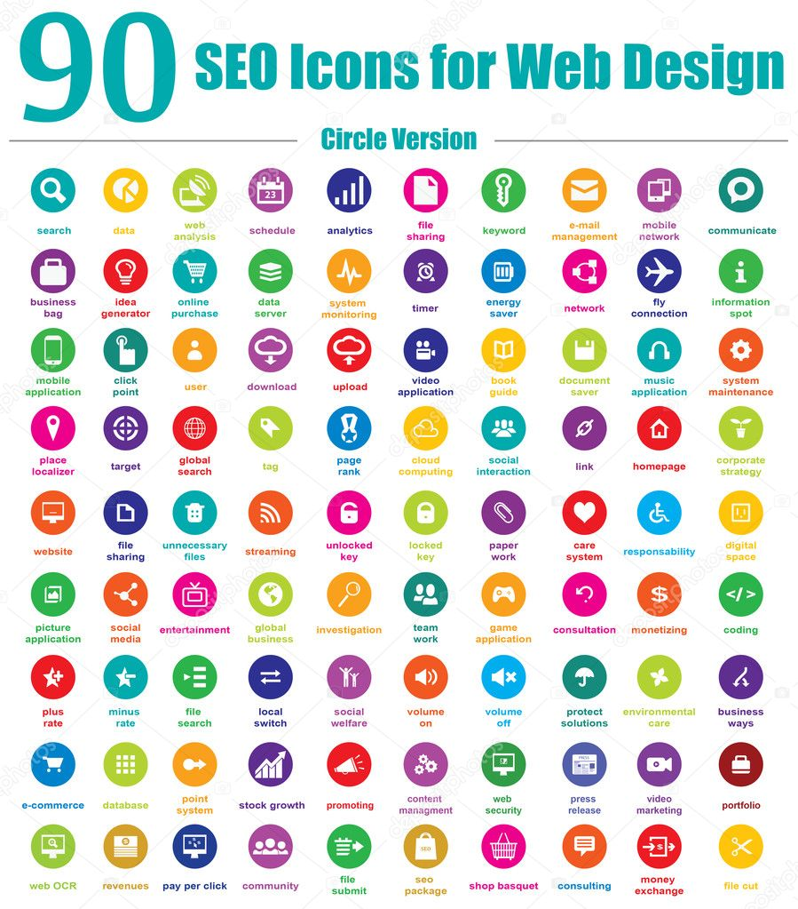90 SEO Icons for Web Design - Circle Version