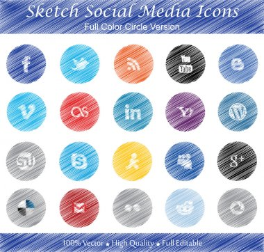 Sketch Social Media Badges - Full color circle version