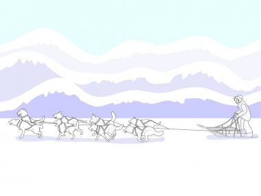 Classic winter sight in the frozen north, a musher and dog sled team fly gracefully across the frozen tundra. EPS 8 compatible, all layers labeled for easy editing. stock vector