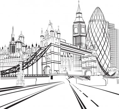 Sketch of the silhouette of the city