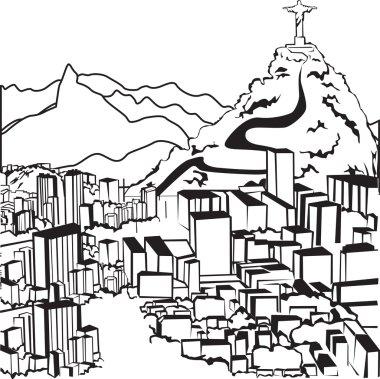 Sketch Brazilian silhouettes clip art vector