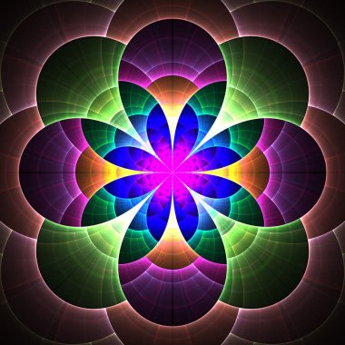 Beautiful fractal flower in blue, green and purple.