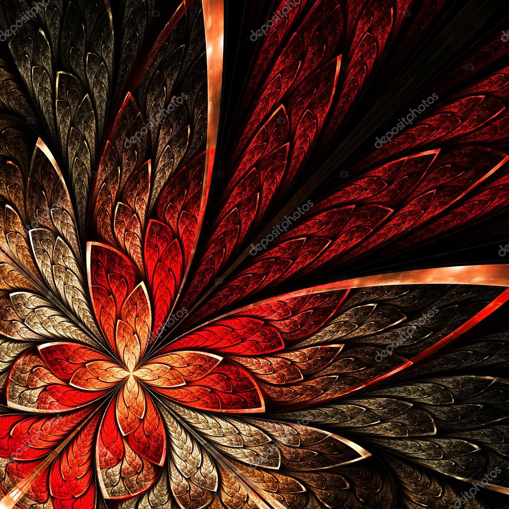 Beautiful fractal flower in yellow and red.