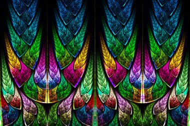 Fractal pattern in stained glass style. Computer generated graph