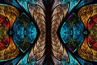 Fractal pattern in stained glass style.