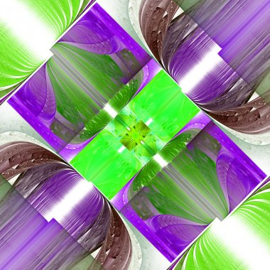 Fractal pattern in green and purple. Computer generated graphics