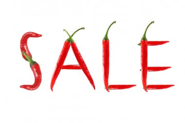Font made of hot red chili pepper isolated on white - letter U