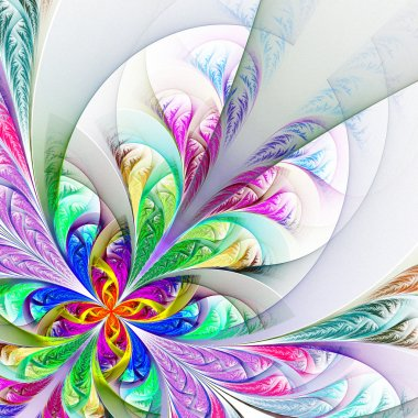 Diagonal symmetric multicolor fractal tracery. Collection - fros