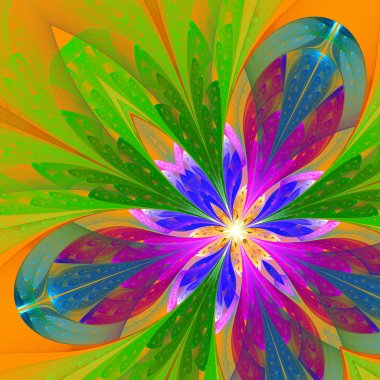 Multicolor beautiful fractal flower in green, purple and blue. C