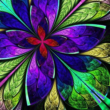Beautiful multicolor fractal flower in stained glass window styl