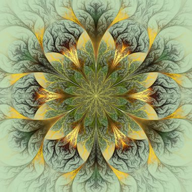 Beautiful fractal flower in brown, green and gray.