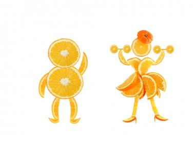 Healthy eating. Funny little pair made of the orange slices.