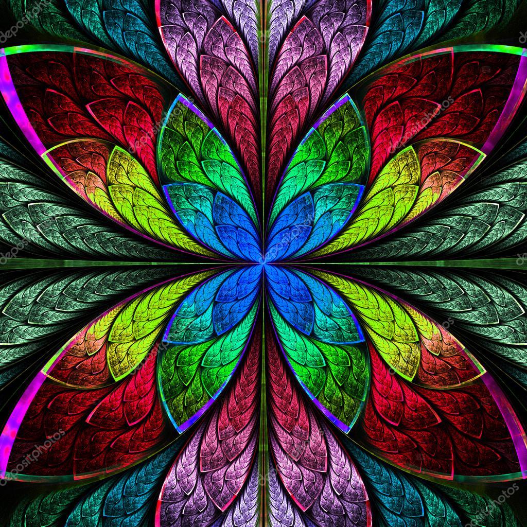 Fractal Black Flower Free Stock Photo: Flor Simétrica Fractal Multicolor Estilo Vidrieras. Co