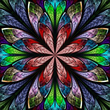 Multicolor beautiful fractal in stained glass window style. Comp