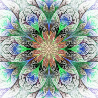 Beautiful fractal flower in gray, brown and green. Computer