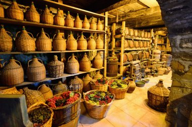 Old traditional storage inside a Greek monastery at Meteora