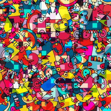 Seamless bright abstract geometric background with monsters, vector clip art vector