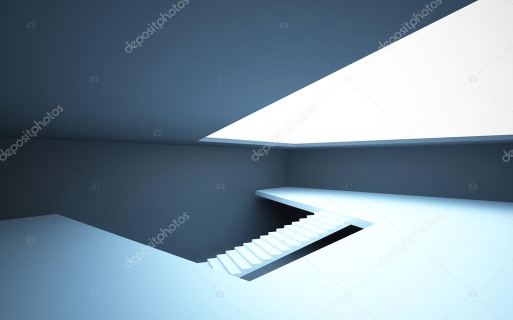 Geradläufige Treppe abstrakt weiß innen schwarz und weiß eine geradläufige treppe