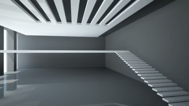abstraktní bílý interiér s balkonem schody bez zábradlí