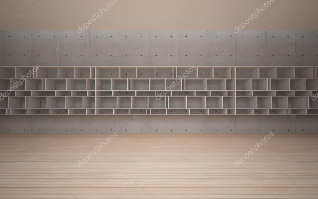 Wandplanken Van Beton : Abstracte interieur stijlvolle witte planken tegen het beton en