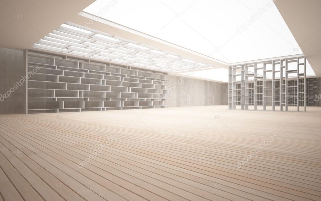 Wandplanken Van Beton : Abstracte interieur. stijlvolle witte planken tegen het beton en