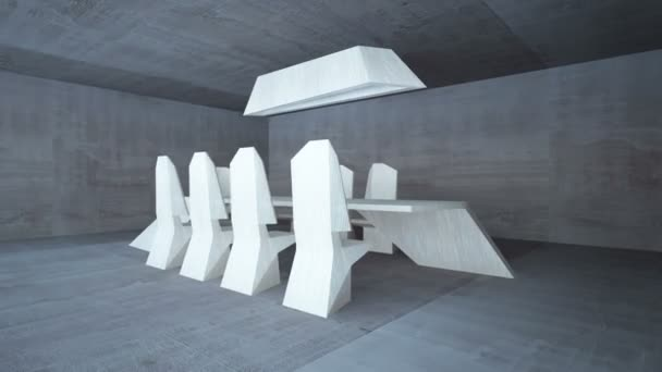 Abstract architectural interior dining. Dining room is up to date style with the use of wood.