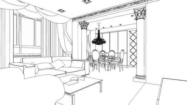 illusztráció egy szerkezeti vázlatot a belső. 3D-s grafikus rajz belső
