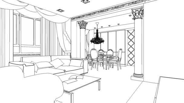 ilustrace osnovy skica interiéru. 3D grafického výkresu interiér