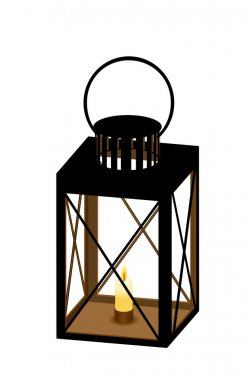 Lantern with candle. Vector illustration.