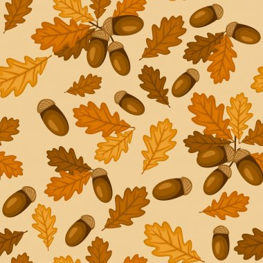 Seamless pattern with autumn oak leaves and acorns. Vector illustration.
