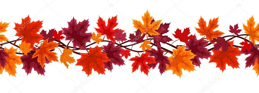 Horizontal seamless background with autumn maple leaves. Vector illustration.