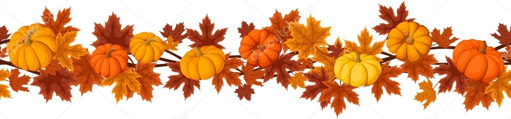 Horizontal seamless background with pumpkins and autumn maple leaves. Vector illustration.