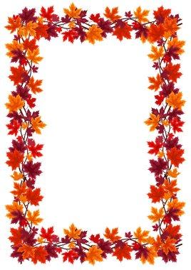 Autumn maple leaves frame. Vector illustration.