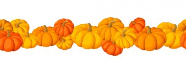 Horizontal seamless background with pumpkins. Vector illustration.