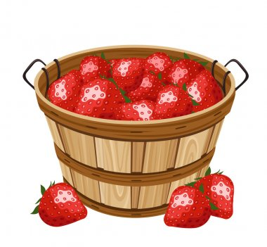 Wooden basket with strawberry. Vector illustration.