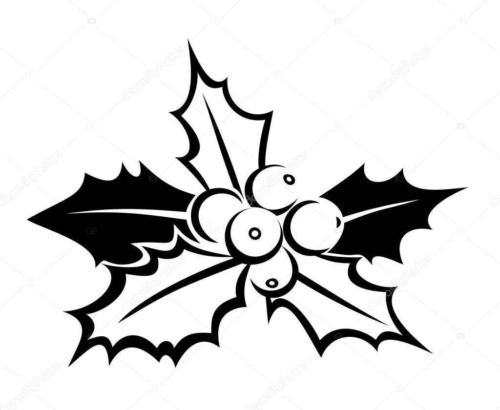 Black silhouette of holly. Vector illustration.
