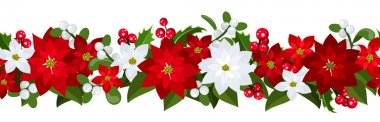 Christmas horizontal seamless background with poinsettia, holly and mistletoe.