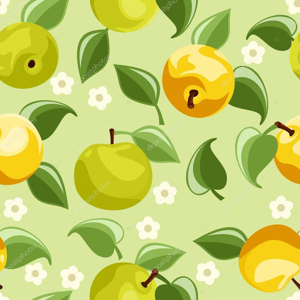 Seamless background with apples. Vector illustration.