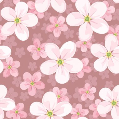 Seamless background with cherry blossoms. Vector illustration.