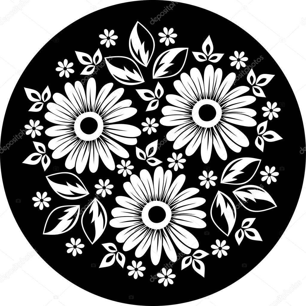 White Flower Ornament On A Black Background. Vector