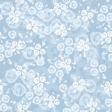 Seamless pattern with roses on a blue background. Vector illustration.