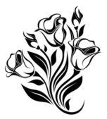 Černá silueta květiny Ornament. vektorové ilustrace
