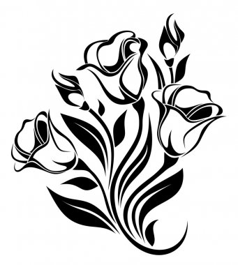 Black silhouette of flowers ornament. Vector illustration.