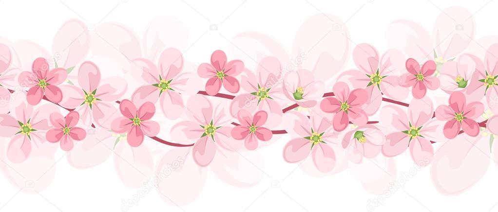 horizontal fond transparent avec des fleurs roses vecteur eps 10 image vectorielle naddya. Black Bedroom Furniture Sets. Home Design Ideas