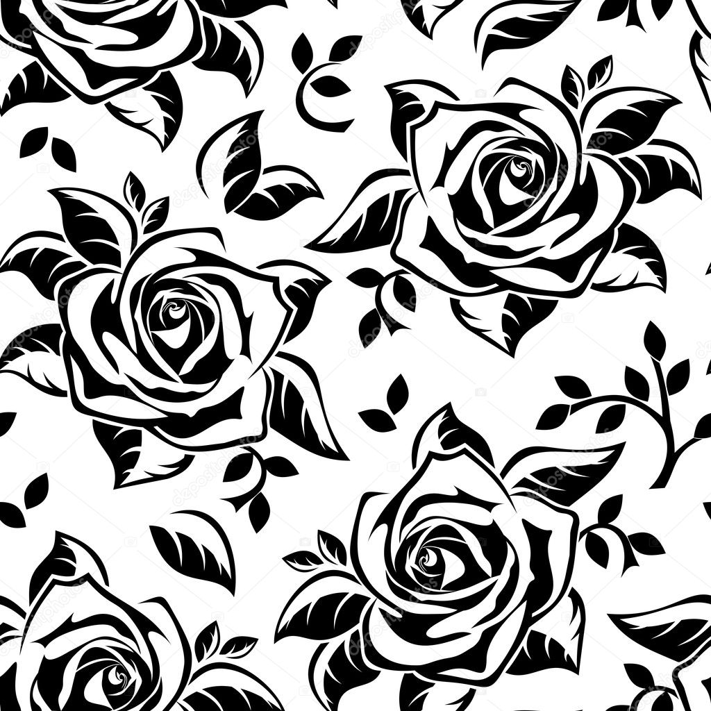 Seamless pattern with black silhouettes of roses. Vector illustration.